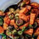 The Spicy Olive's Roasted Sweet Potatos and Brussel Sprouts