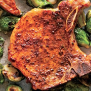 The Spicy Olive's Pork Chops with Apples and Brussel Sprouts