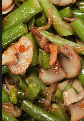 The Spicy Olive Green Beans with Mushrooms and Bacon