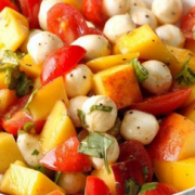 Peach, Mango, Tomato Caprese Salad
