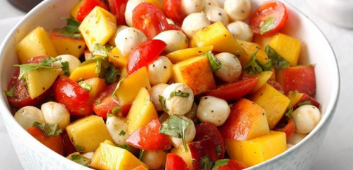The Spicy Olive's Peach, Mango and Tomato Caprese Salad