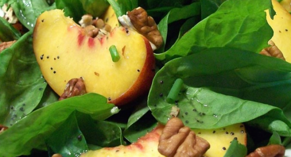 The Spicy Olive's Peach Spinach Salad