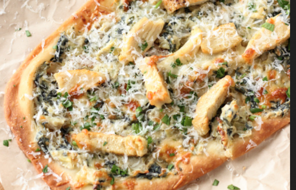 The Spicy Olive's Spinach Artichoke Flatbread