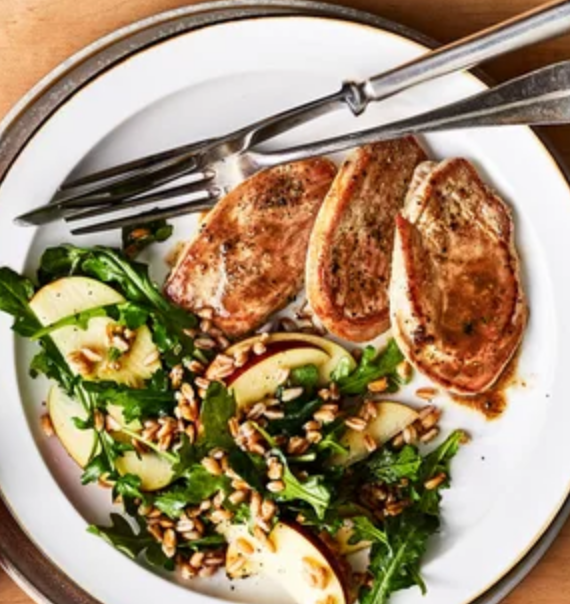 The Spicy Olive's Maple Pork Tenderloin with Farro, Apples and Arugula